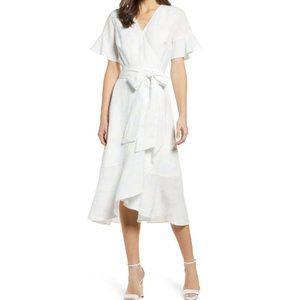 Rachel Parcell White Blue Floral Ruffle Wrap Dress
